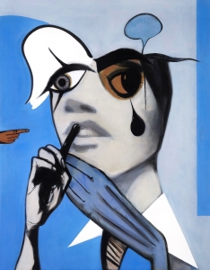Girl With Tear (Blue Painting)
